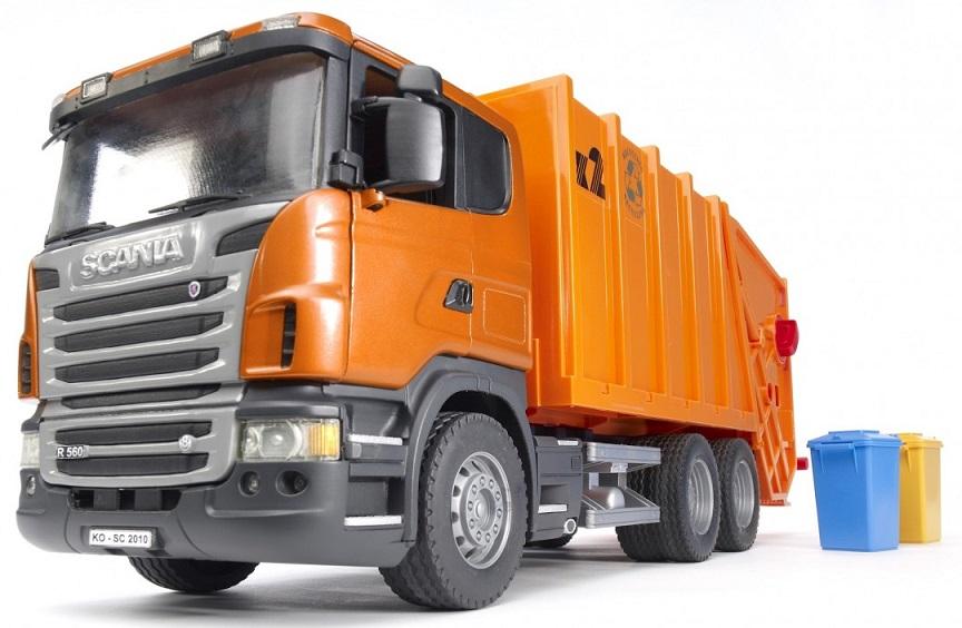 BRUDER 3560 Scania popelář oranžový zadní nakládka