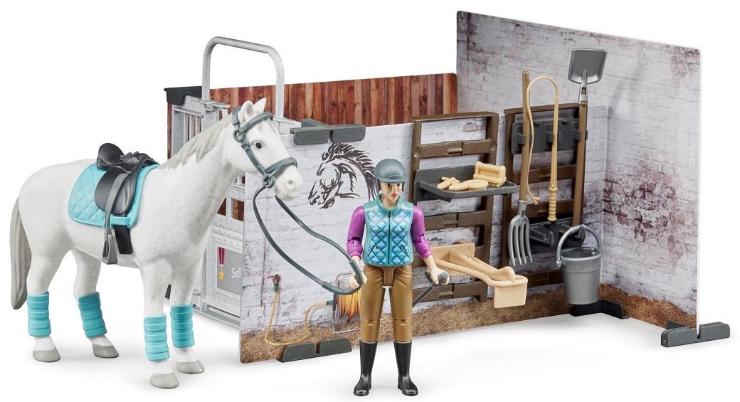 Bruder 62506 BWORLD Stáj s koněm a figurkou