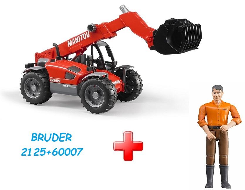 BRUDER 2125 Nakladač Manitou MLT 633 + Bruder 60007 Bworld Muž hnědé kalhoty