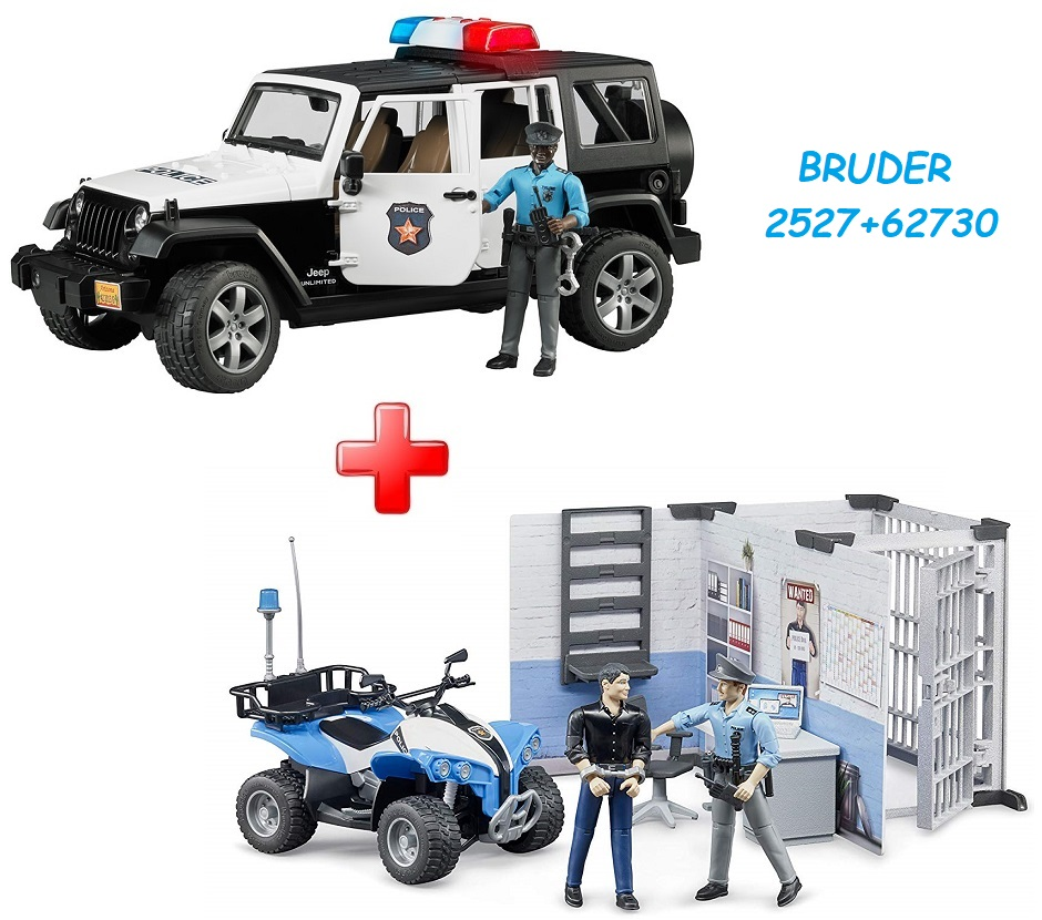 BRUDER 2527 Jeep Wrangler Rubicon Policie s figurkou policisty (snědá pleť) + BRUDER 62730 Policejní stanice s figurkami a čtyřkolkou