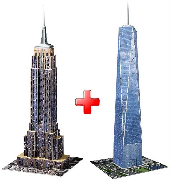 3D puzzle Empire State Building 216 dílků Ravensburger + 3D puzzle Trade Centre 216 dílků, Ravensburger