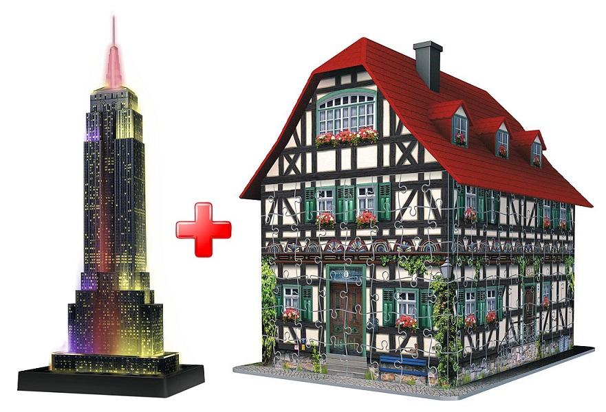3D puzzle Empire State Building - svítící - Ravensburger + 3D puzzle Hrázděný dům 216 dílků Ravensburger