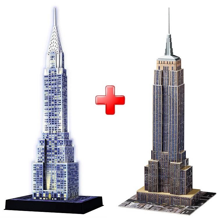 Ravensburger 3D puzzle Noční Chrysler Building 216 dílků + 3D puzzle Empire State Building 216 dílků Ravensburger