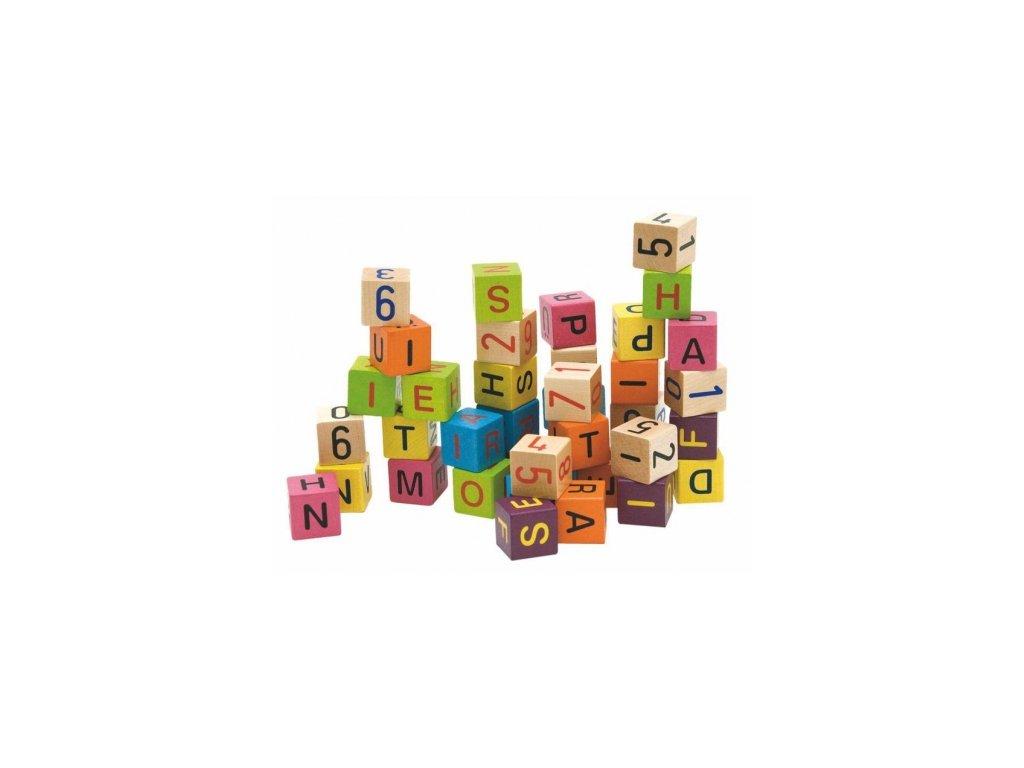 Woody | Barevné kostky s písmeny a čísly, 40ks
