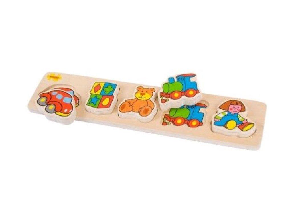 Bigjigs Toys | Dřevěné široké vkládací puzzle Hračky