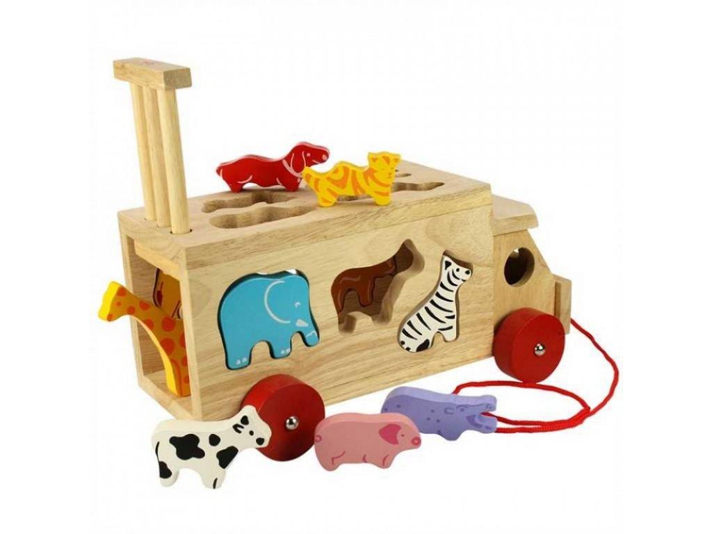 Bigjigs Toys | Dřevěné auto se zvířátky