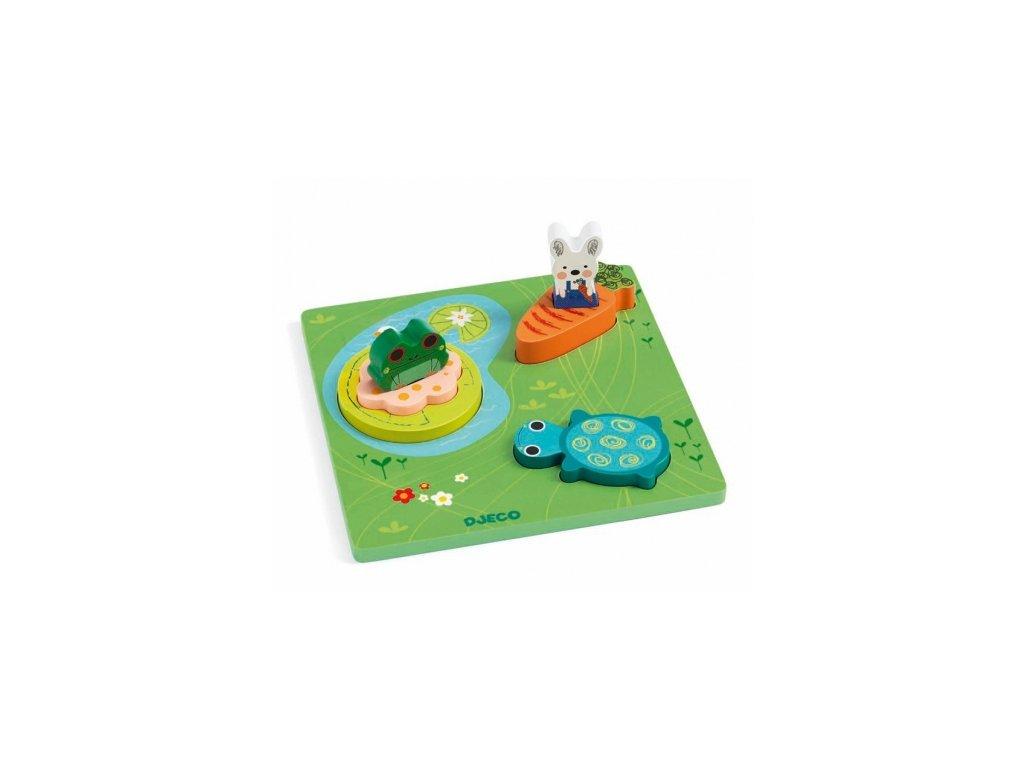 Djeco | Vkládací puzzle Žabka a kamarádi