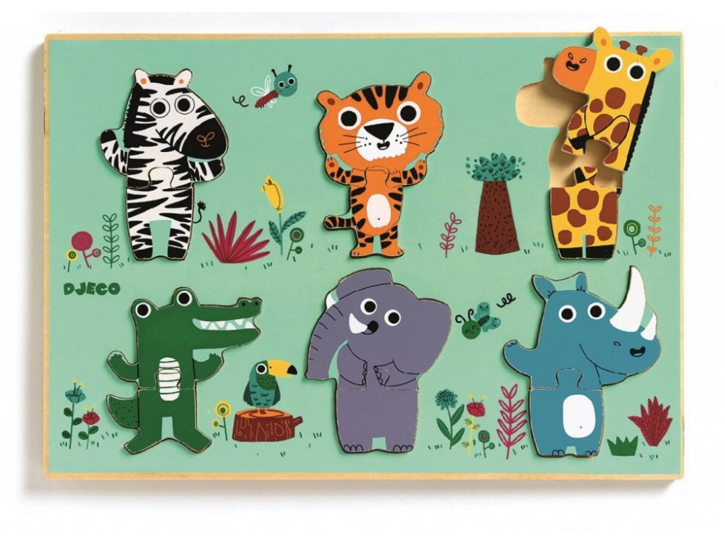 DJ01258 djeco vkládací puzzle zvířáka zoo 1