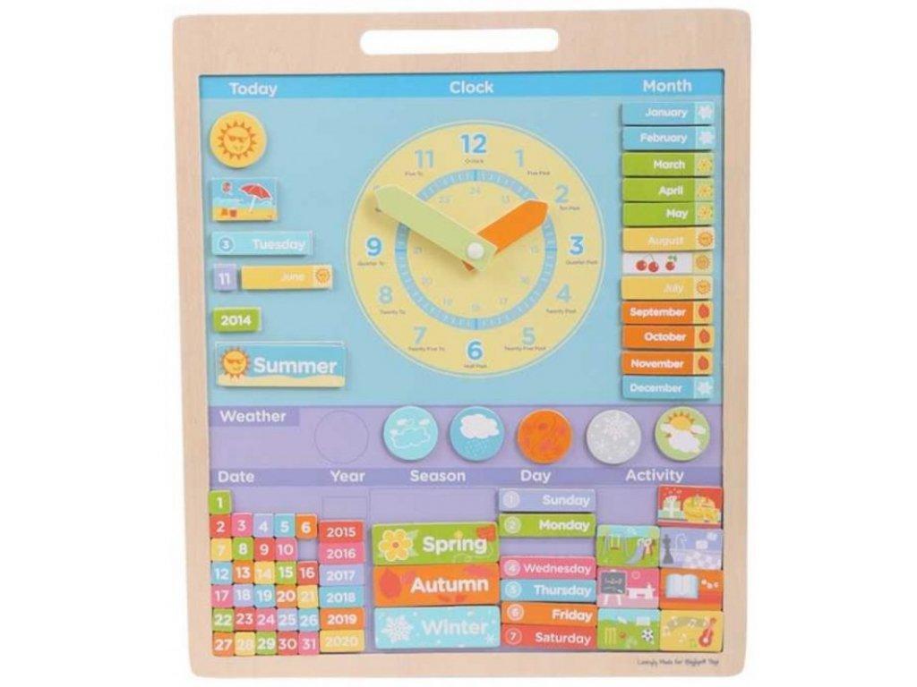 Bigjigs Toys | Anglický magnetický kalendář s hodinami