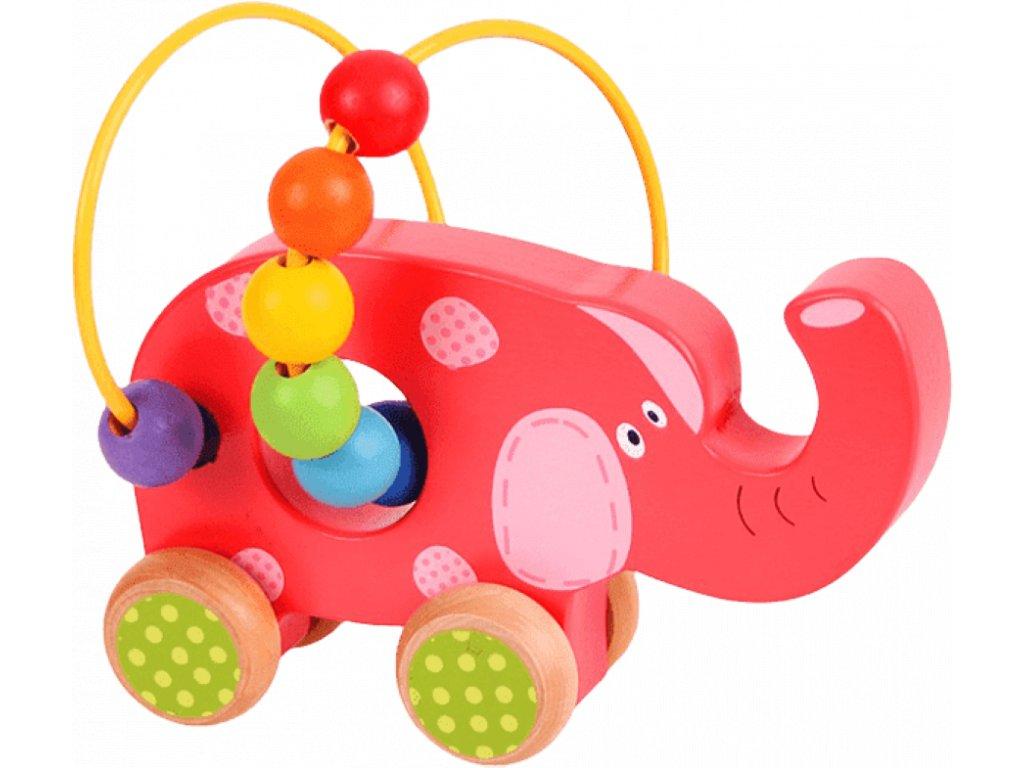 Bigjigs Toys | Motorický labyrint na kolečkách Slon