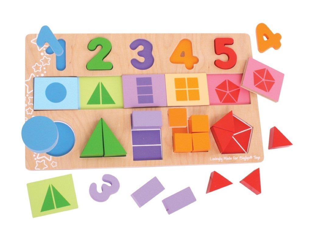Bigjigs Toys | Deska s vkládáním Čísla, barvy, tvary