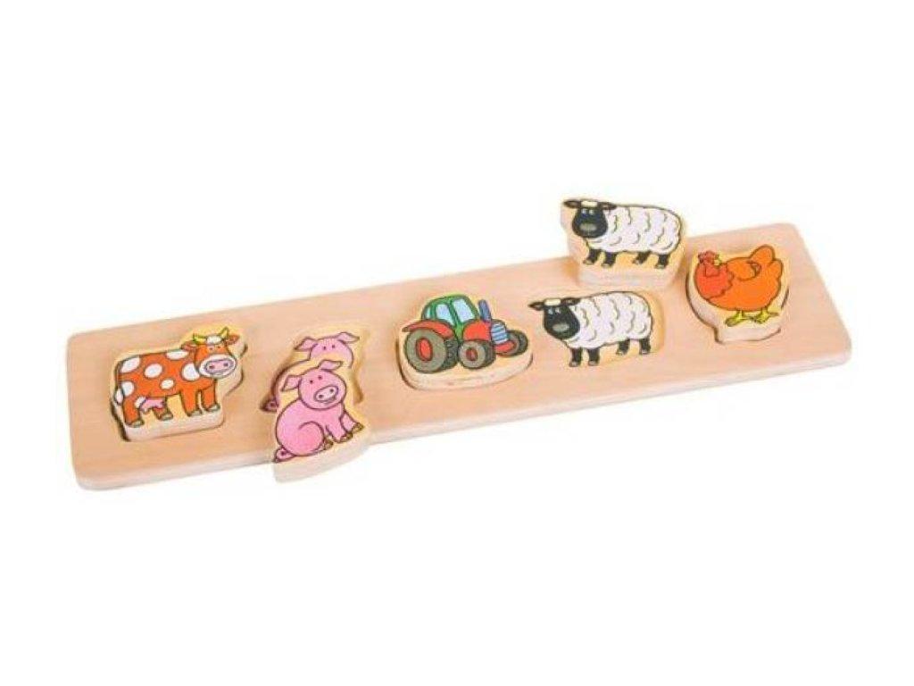 Bigjigs Toys | Dřevěné vkládací puzzle Farma