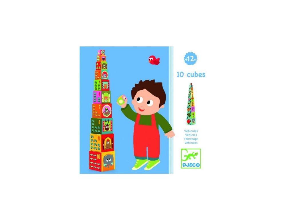 Djeco | Věž z kostek Dopravní prostředky