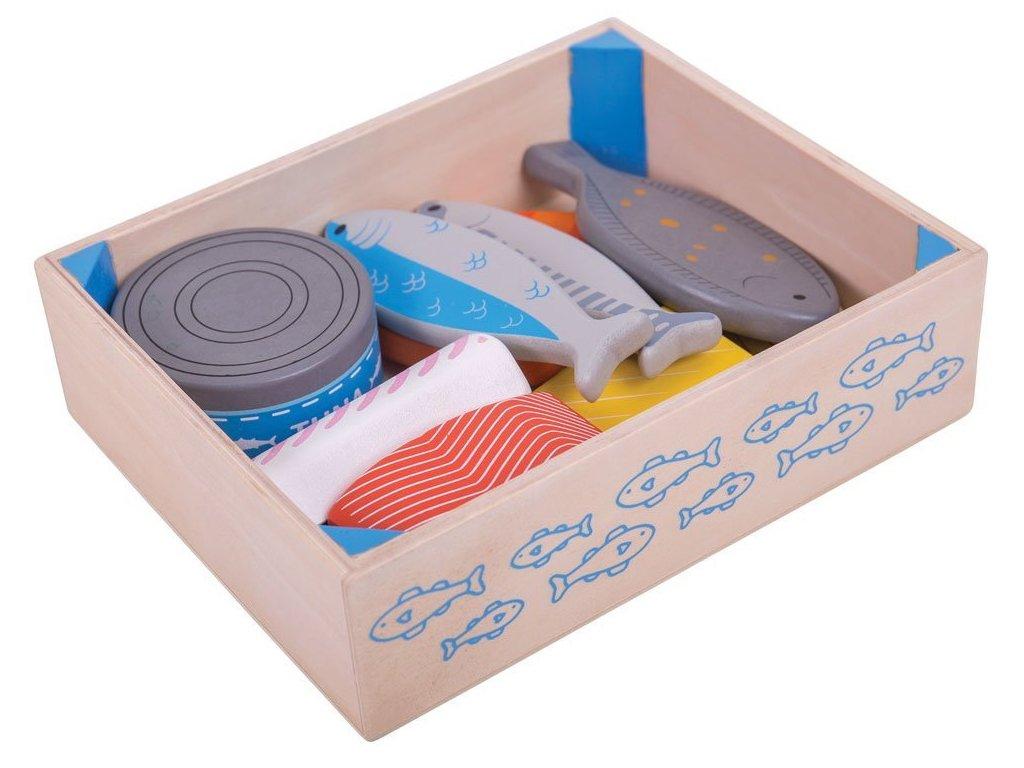 Bigjigs Toys | Dřevěné potraviny Ryby v krabičce