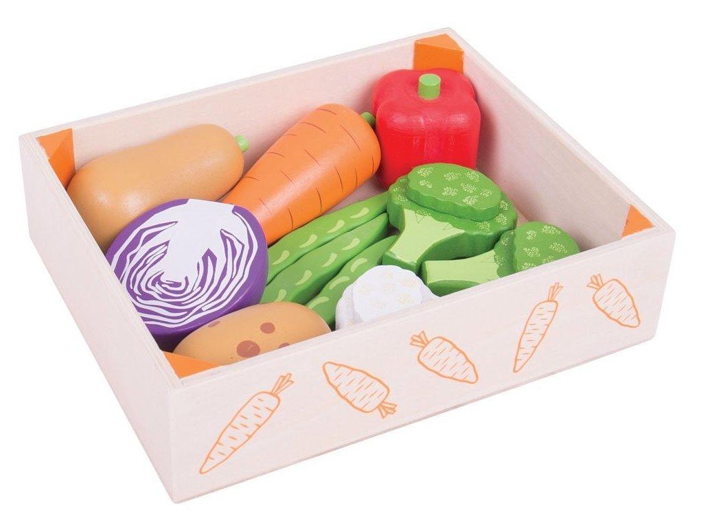 Bigjigs Toys | Dřevěné potraviny Zelenina v krabičce