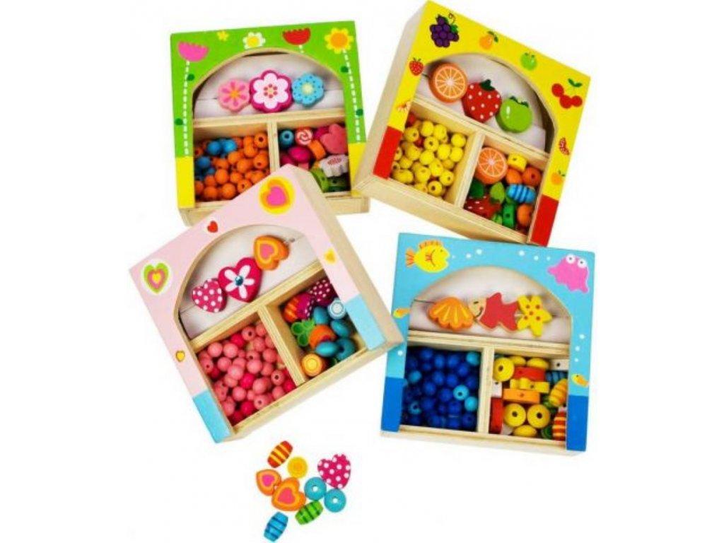 Bigjigs Toys | Dřevěné navlékací korále malé