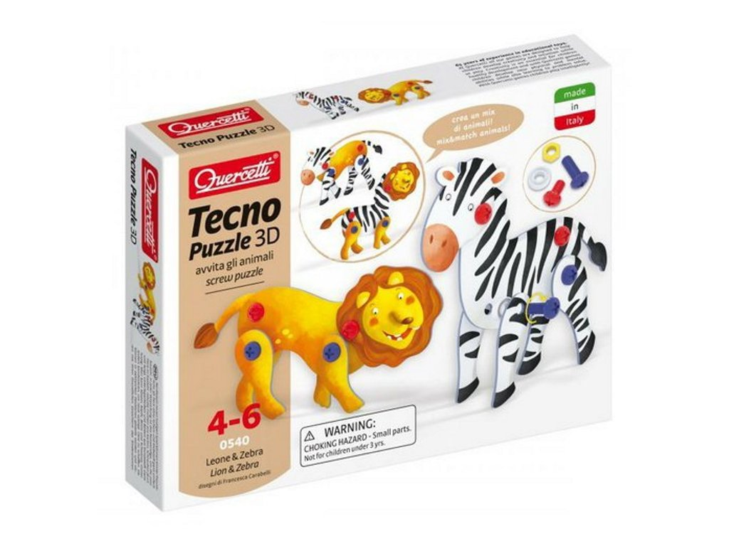 Quercetti | Tecno Puzzle 3D - lev a zebra