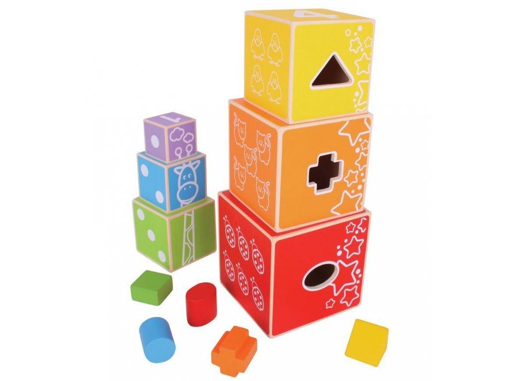 Bigjigs Toys | Dřevěná motorická věž z kostek