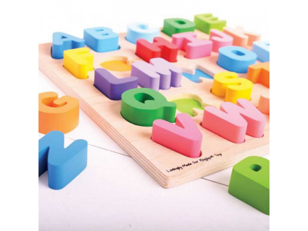 Bigjigs Toys | Dřevěná vkládací Abeceda VELKÁ písmena