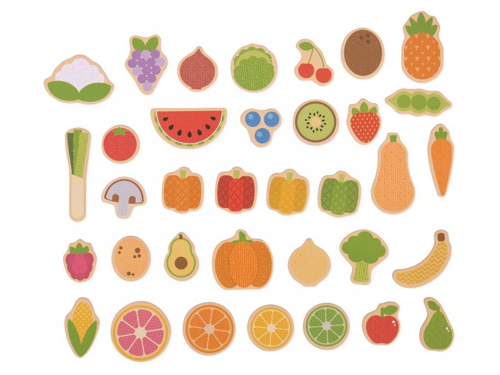 Bigjigs Toys | Dřevěné magnetky Ovoce a zelenina 35 ks