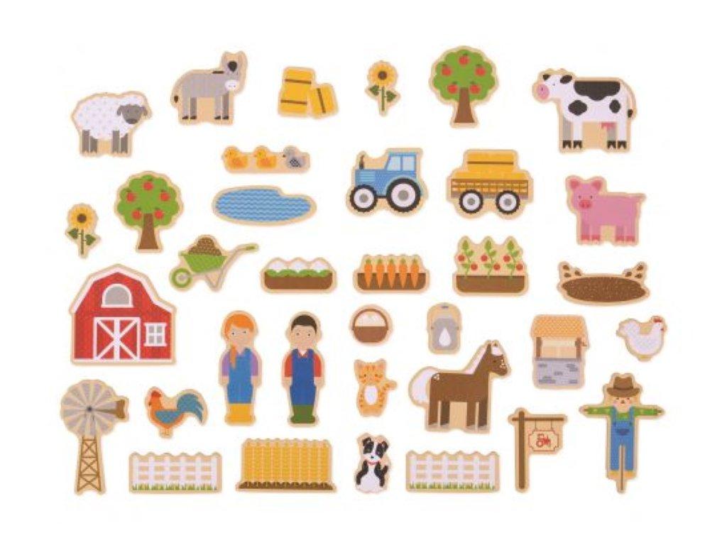 Bigjigs Toys | Dřevěné magnetky Farma 35 ks