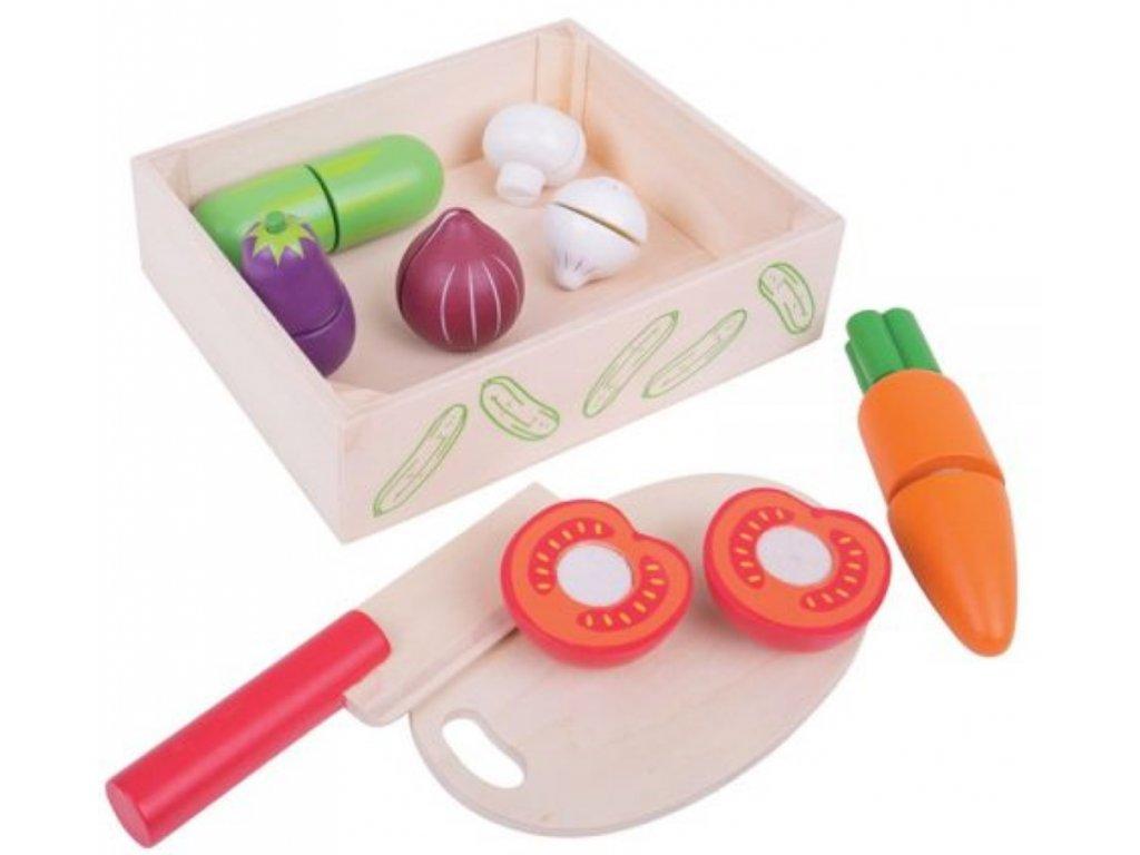 Bigjigs Toys   Dřevěné potraviny Krájení zeleniny v krabičce