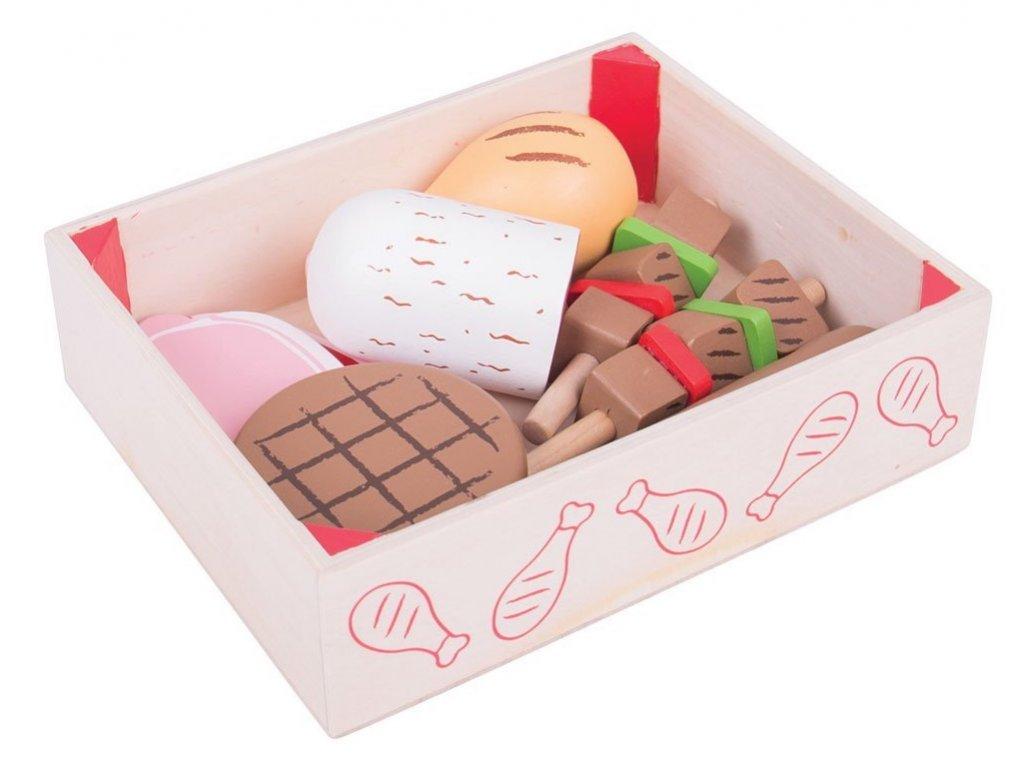 Bigjigs Toys | Dřevěné potraviny Uzeniny v krabičce
