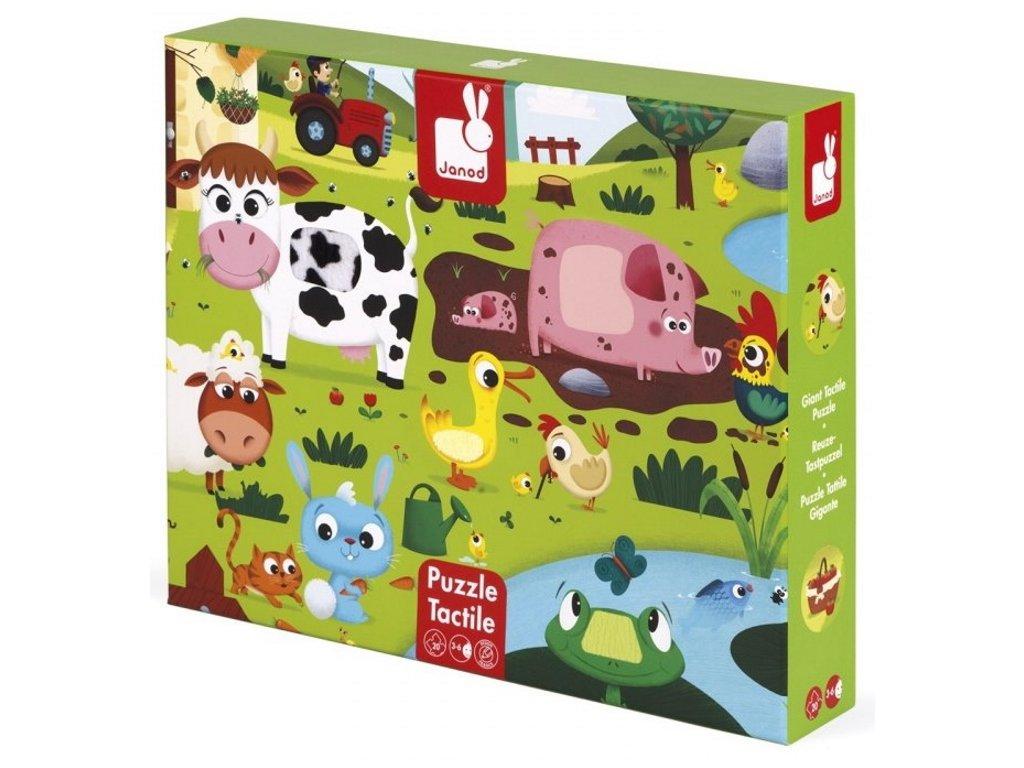 Janod | Hmatové puzzle Zvířátka na farmě