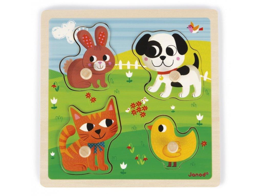Janod | Vkládací hmatové puzzle Domácí zvířata