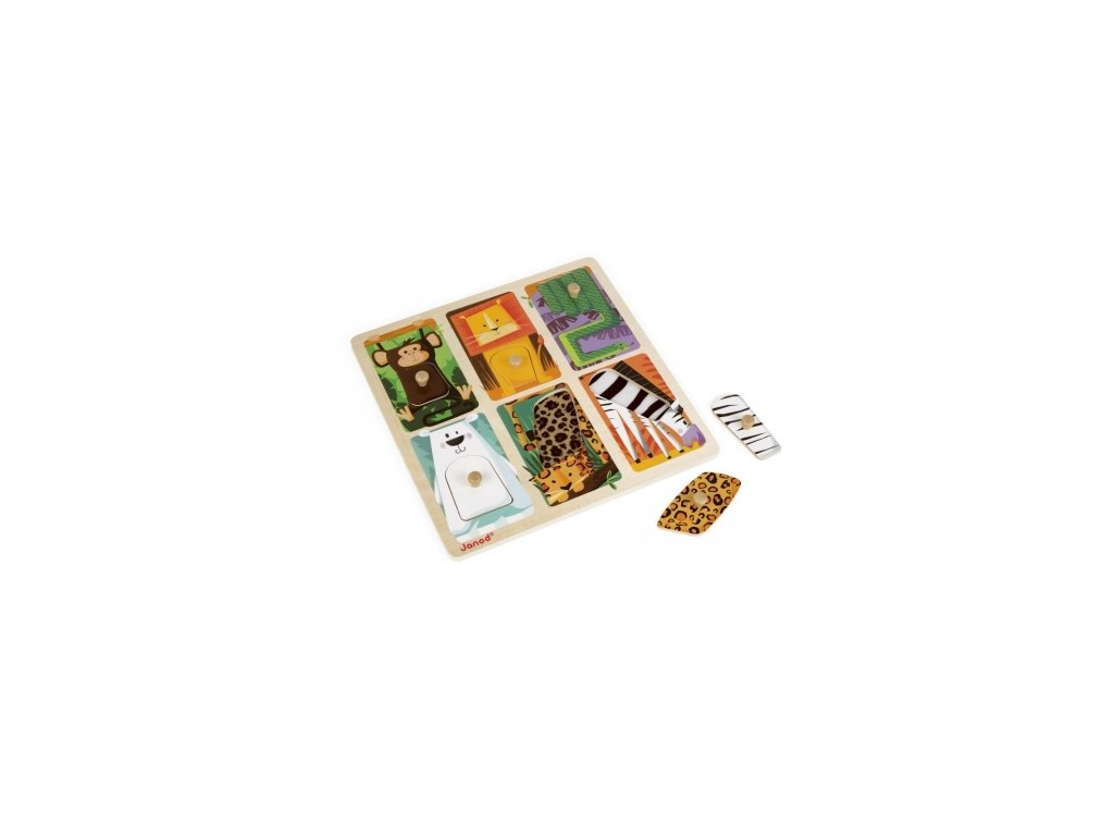 Janod | Vkládací hmatové puzzle Džungle