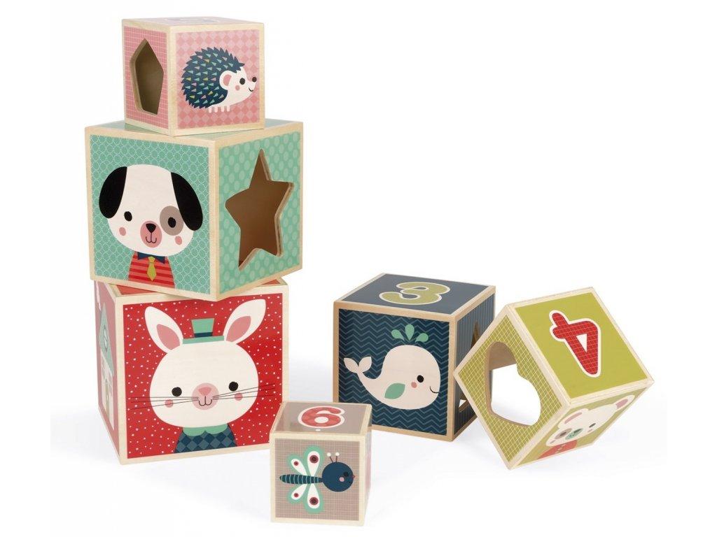 Janod | Dřevěná krabičková věž s čísly