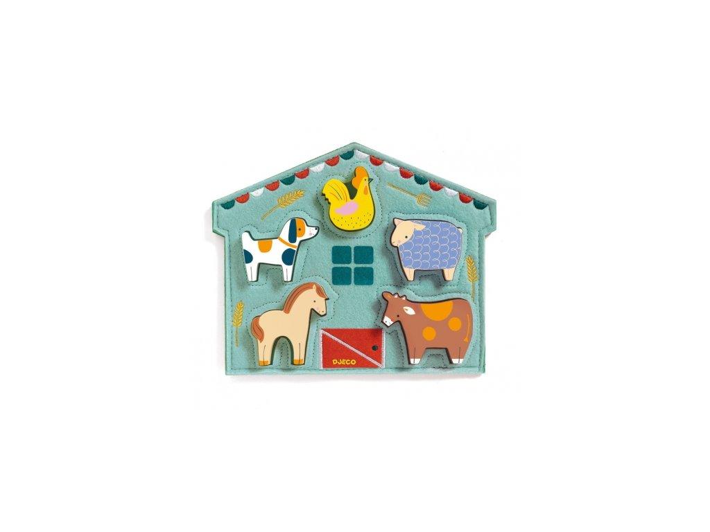 Djeco | Dřevěné vkládací puzzle Kravička a kamarádi