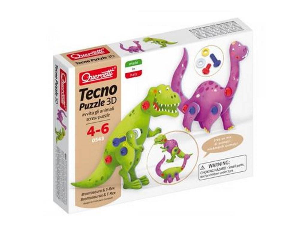 Quercetti | Tecno Puzzle 3D - brontosaurus a T-Rex