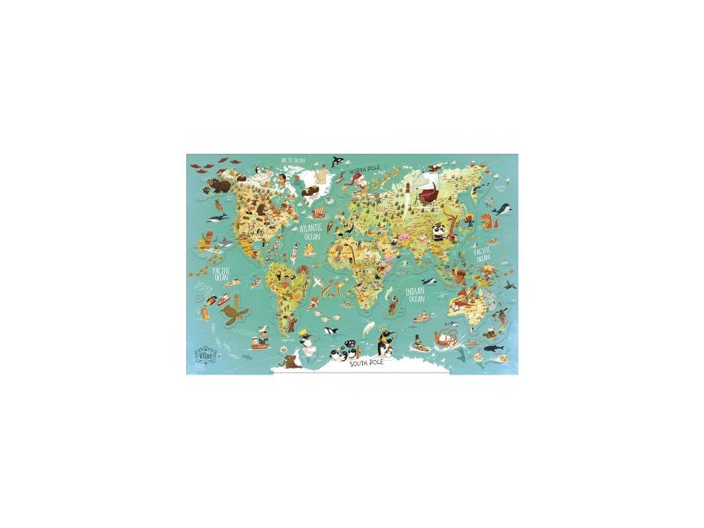 Vilac | Nástěnná magnetická mapa Světa (78 dílků)