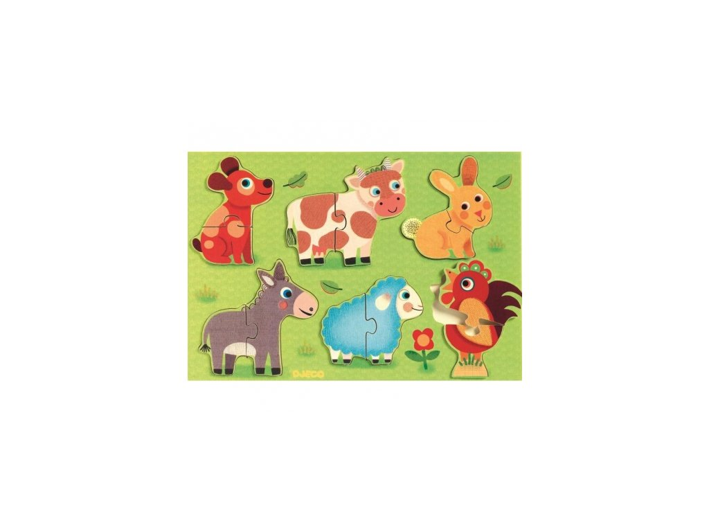 Djeco | Vkládací puzzle Zvířátka na dvorku