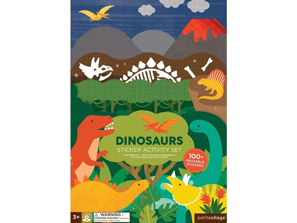 Petitcollage | Kreativní samolepky s deskami Dinosauři