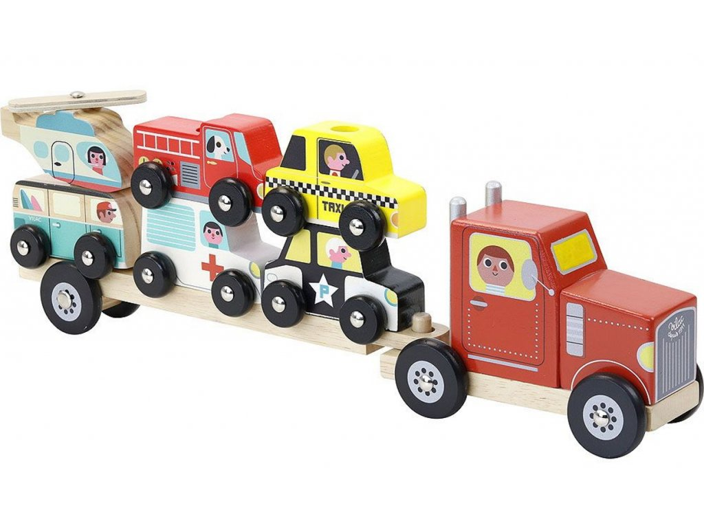 v7601 vilac dreveny kamion s auticky na nasazovani