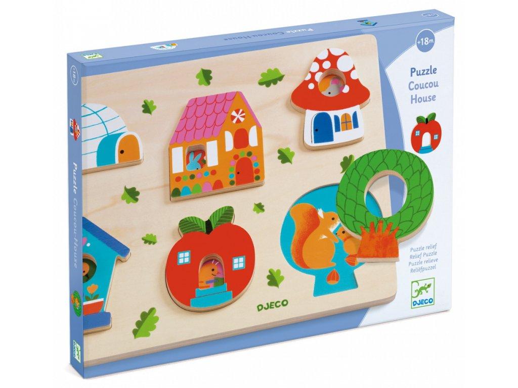DJ01064 djeco vkladaci puzzle s obrazky domecky