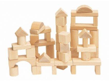 Woody | Stavebnice kostky přírodní v kartonu, 50 dílů