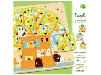 Djeco | Třívrstvé puzzle Veverčí domeček
