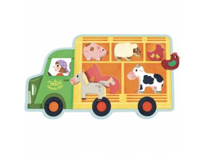 Vilac | Dřevěné vkládací puzzle Farmářský vůz