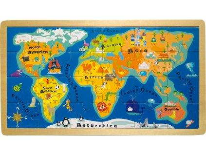 Legler | Puzzle Jednoduchá mapa světa 24 dílů