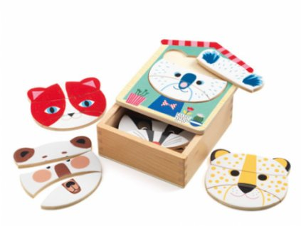 Djeco | Puzzle Obličeje zvířátek
