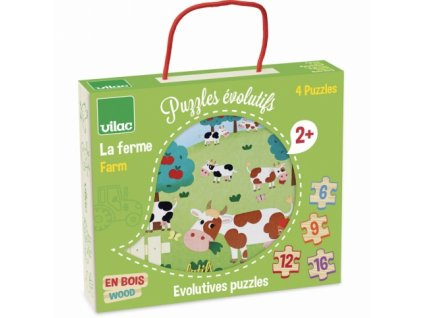 Vilac | Dřevěné puzzle Farma 4v1