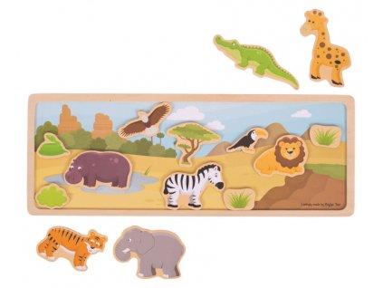 Bigjigs Toys | Dřevěné magnetky s tabulkou Safari