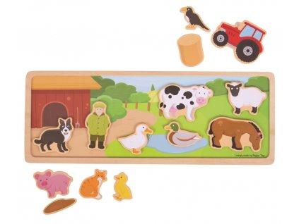 Bigjigs Toys | Dřevěné magnetky s tabulkou Farma