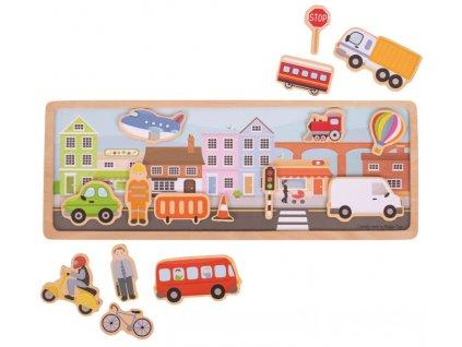 Bigjigs Toys | Dřevěné magnetky s tabulkou Město