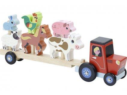v7602 vilac dreveny traktor se zviratky na nasazovani