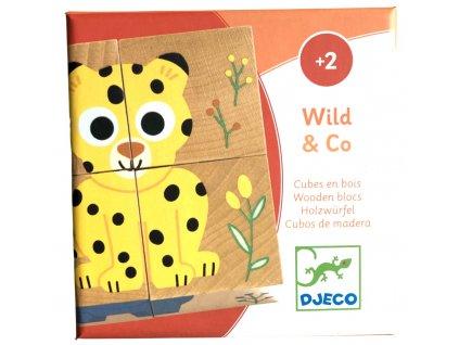 DJ01904 djeco drevene kostky zviratka z divociny