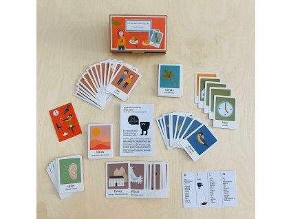 poketo hraci karty s vyjmenovanymi slovy